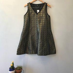 NWT Kate Spade Gold Black Saturday Dress S
